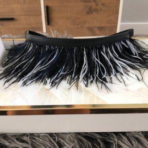 BCBGMaxazria Ostrich Feather Belt